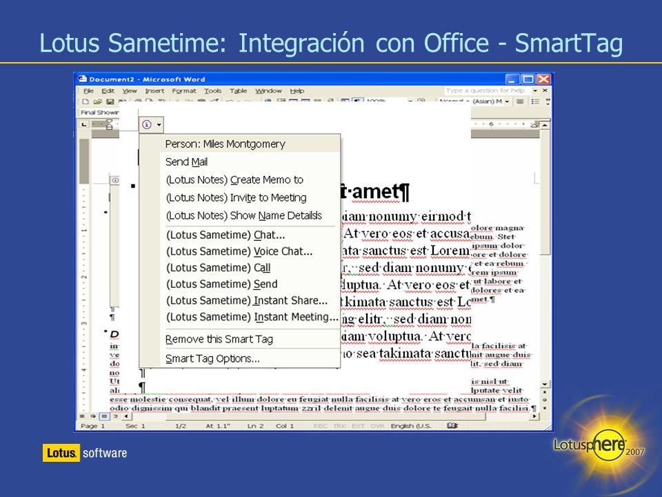 19 Lotus Sametime: Integración con Office - SmartTag