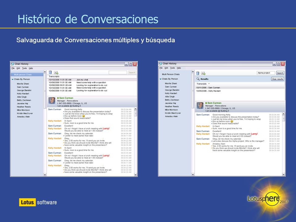 20 Histórico de Conversaciones Salvaguarda de Conversaciones múltiples y búsqueda