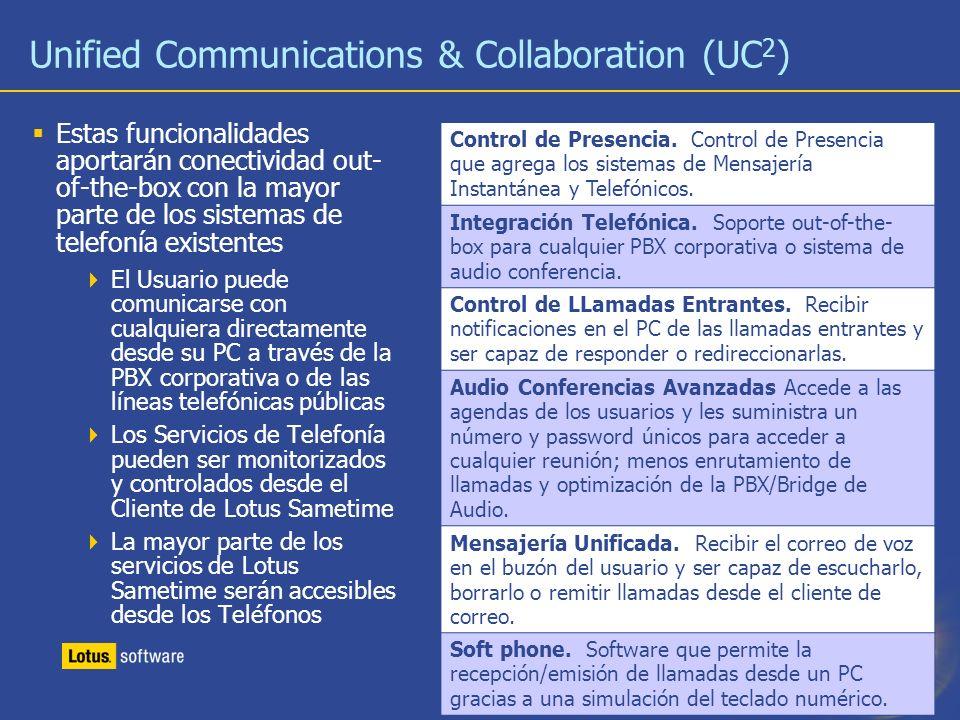 25 Unified Communications & Collaboration (UC 2 ) Estas funcionalidades aportarán conectividad out- of-the-box con la mayor parte de los sistemas de t