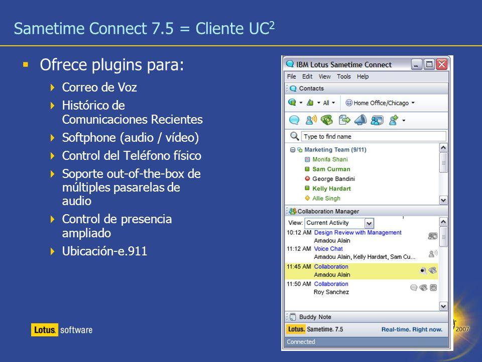26 Sametime Connect 7.5 = Cliente UC 2 Ofrece plugins para: Correo de Voz Histórico de Comunicaciones Recientes Softphone (audio / vídeo) Control del