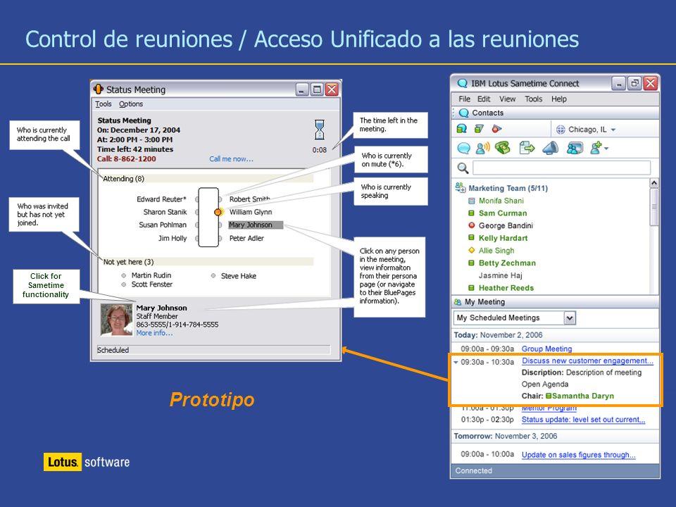27 Control de reuniones / Acceso Unificado a las reuniones Click for Sametime functionality Prototipo