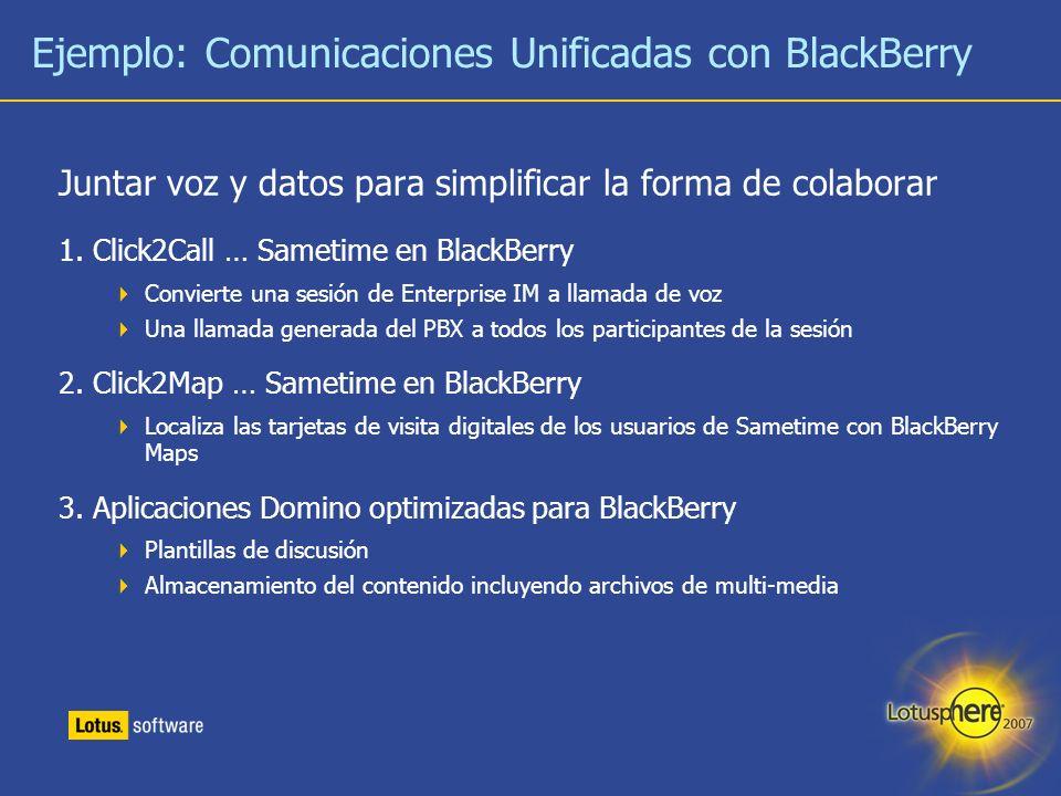 29 Ejemplo: Comunicaciones Unificadas con BlackBerry Juntar voz y datos para simplificar la forma de colaborar 1. Click2Call … Sametime en BlackBerry