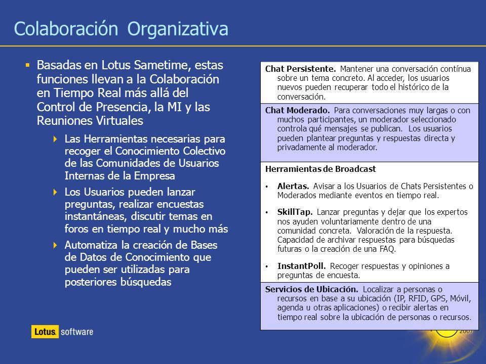30 Colaboración Organizativa Basadas en Lotus Sametime, estas funciones llevan a la Colaboración en Tiempo Real más allá del Control de Presencia, la