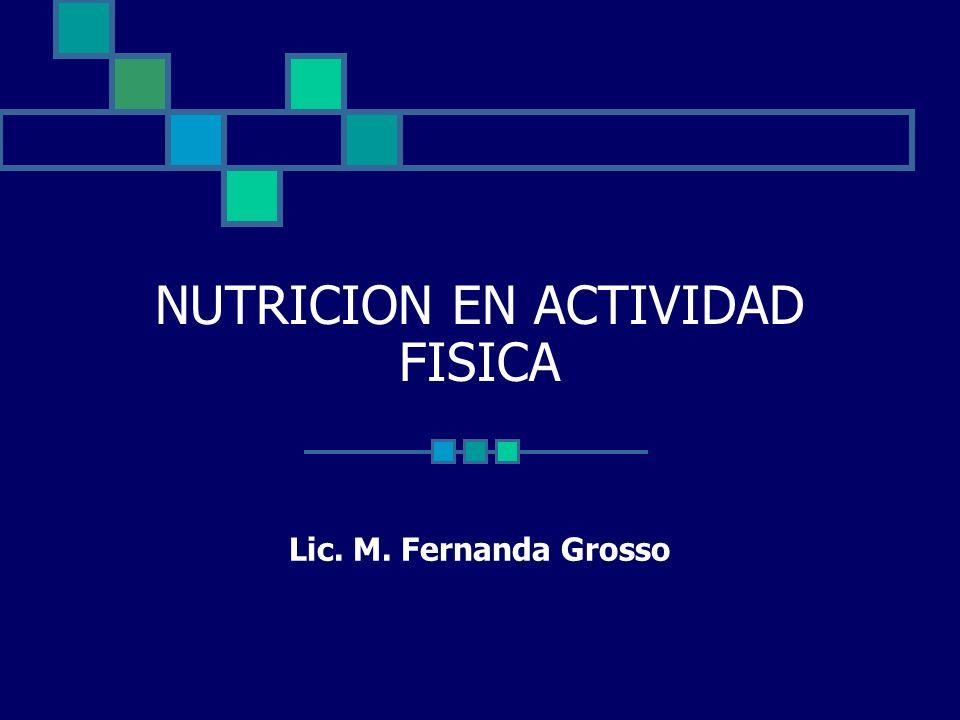 NUTRICION EN ACTIVIDAD FISICA Lic. M. Fernanda Grosso