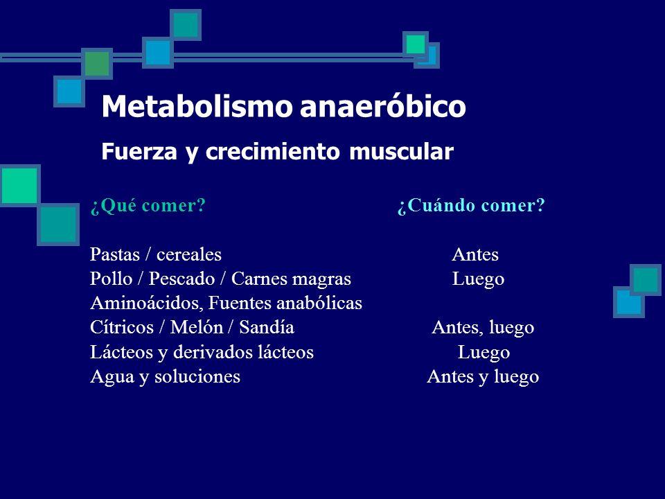 Metabolismo anaeróbico Fuerza y crecimiento muscular ¿Qué comer.