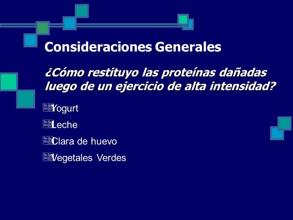 Consideraciones Generales ¿Cómo restituyo las proteínas dañadas luego de un ejercicio de alta intensidad.