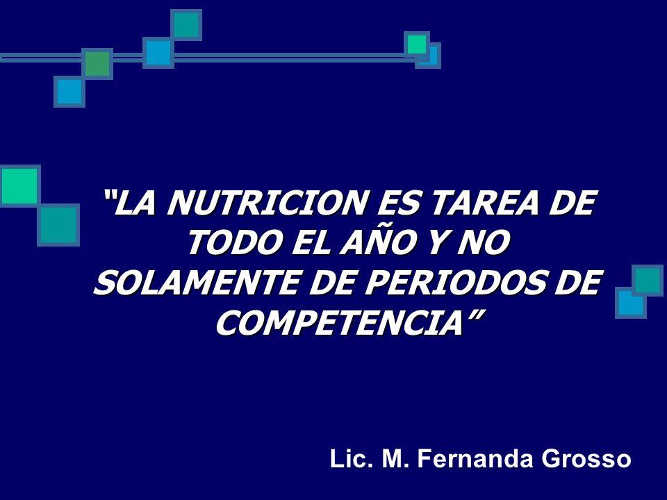 LA NUTRICION ES TAREA DE TODO EL AÑO Y NO SOLAMENTE DE PERIODOS DE COMPETENCIA Lic.