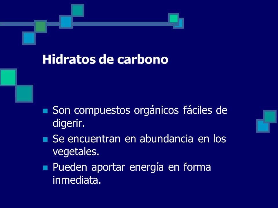 Hidratos de carbono Son compuestos orgánicos fáciles de digerir.