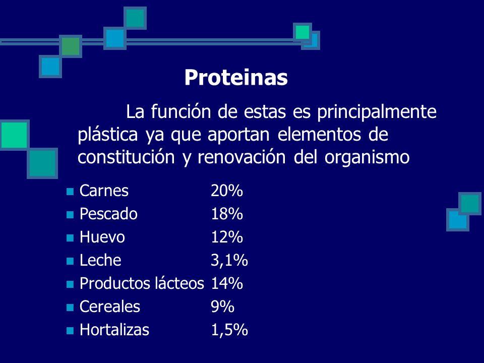 Proteinas La función de estas es principalmente plástica ya que aportan elementos de constitución y renovación del organismo Carnes20% Pescado18% Huevo12% Leche3,1% Productos lácteos14% Cereales9% Hortalizas1,5%