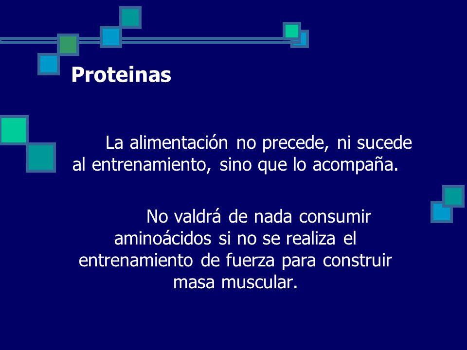 Proteinas La alimentación no precede, ni sucede al entrenamiento, sino que lo acompaña.