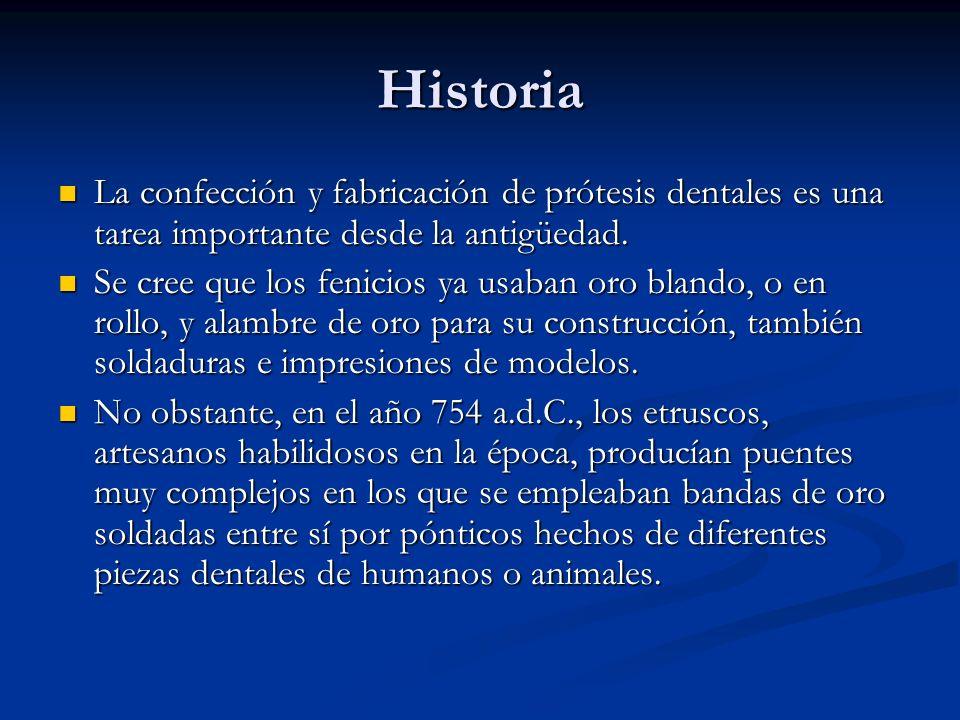 Historia La confección y fabricación de prótesis dentales es una tarea importante desde la antigüedad. La confección y fabricación de prótesis dentale