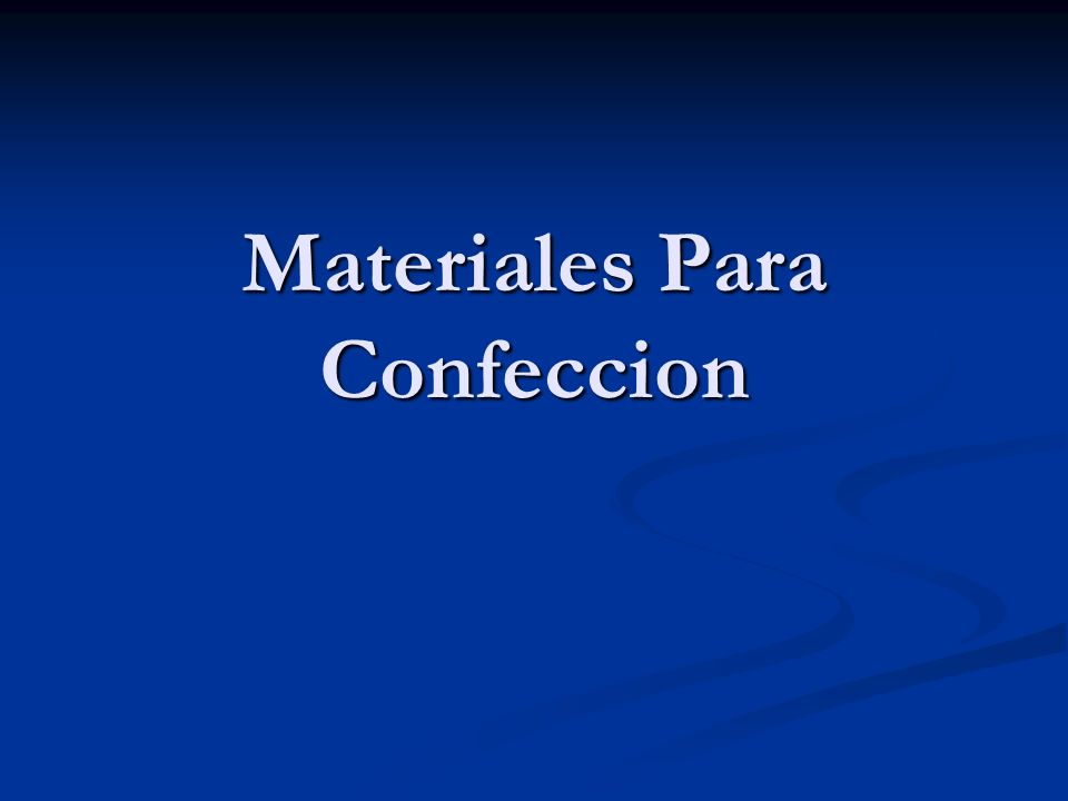 Materiales Para Confeccion