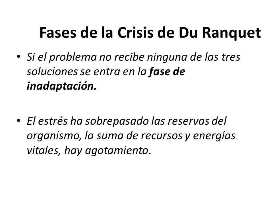 Fases de la Crisis de Du Ranquet Si el problema no recibe ninguna de las tres soluciones se entra en la fase de inadaptación. El estrés ha sobrepasado