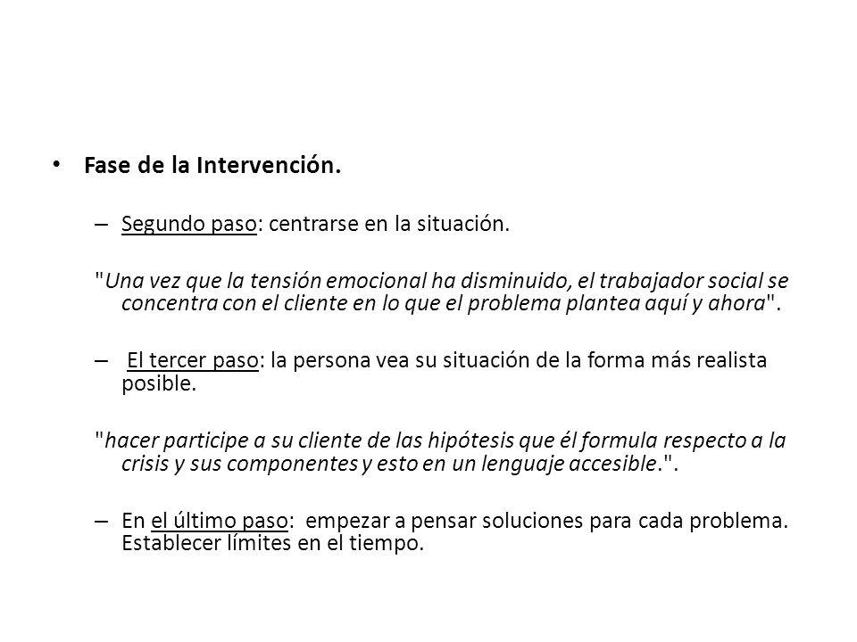 Fase de la Intervención. – Segundo paso: centrarse en la situación.