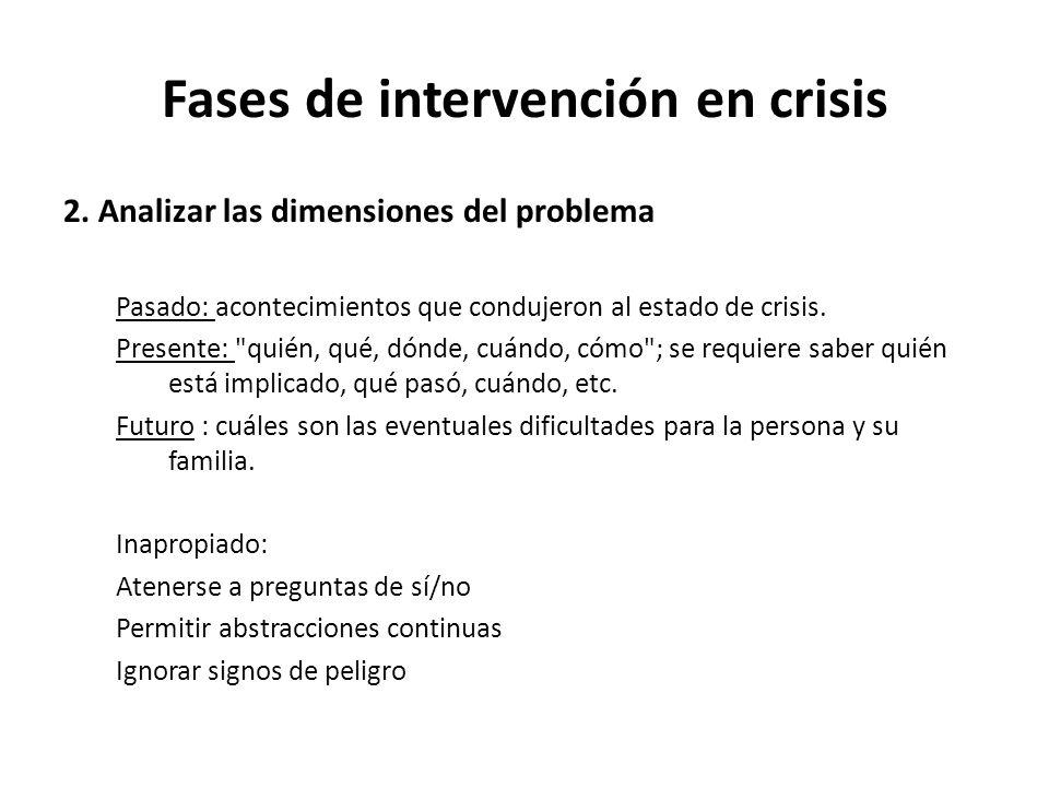2. Analizar las dimensiones del problema Pasado: acontecimientos que condujeron al estado de crisis. Presente: