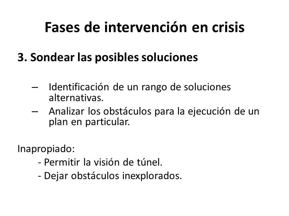 Fases de intervención en crisis 3. Sondear las posibles soluciones – Identificación de un rango de soluciones alternativas. – Analizar los obstáculos