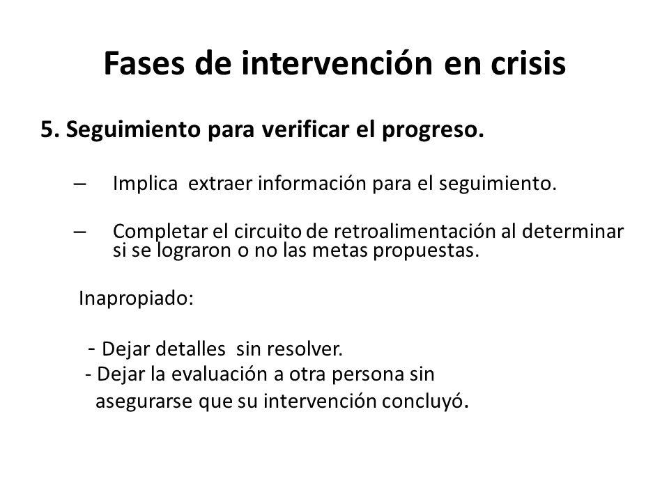 Fases de intervención en crisis 5. Seguimiento para verificar el progreso. – Implica extraer información para el seguimiento. – Completar el circuito