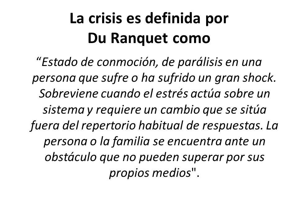 La crisis es definida por Du Ranquet como Estado de conmoción, de parálisis en una persona que sufre o ha sufrido un gran shock. Sobreviene cuando el
