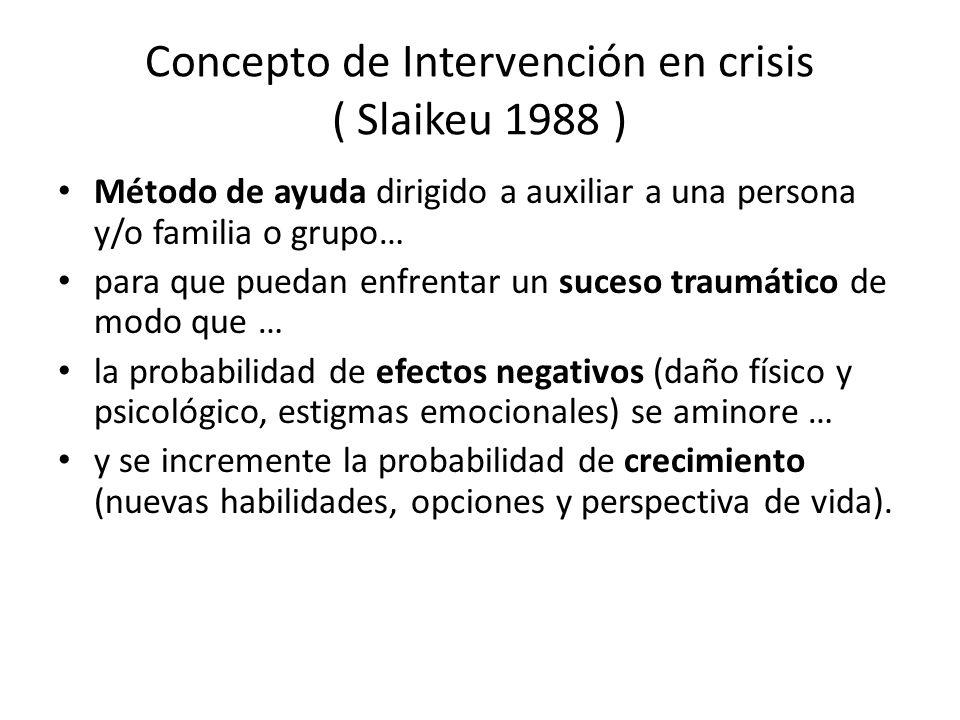 Concepto de Intervención en crisis ( Slaikeu 1988 ) Método de ayuda dirigido a auxiliar a una persona y/o familia o grupo… para que puedan enfrentar u