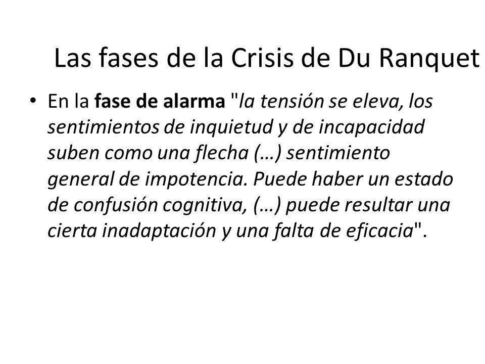 Las fases de la Crisis de Du Ranquet En la fase de resistencia, el organismo moviliza su energía para encontrar soluciones de urgencia es la fase intermedia que puede llevar al final de la crisis de tres maneras diferentes: – Resolviendo el problema.