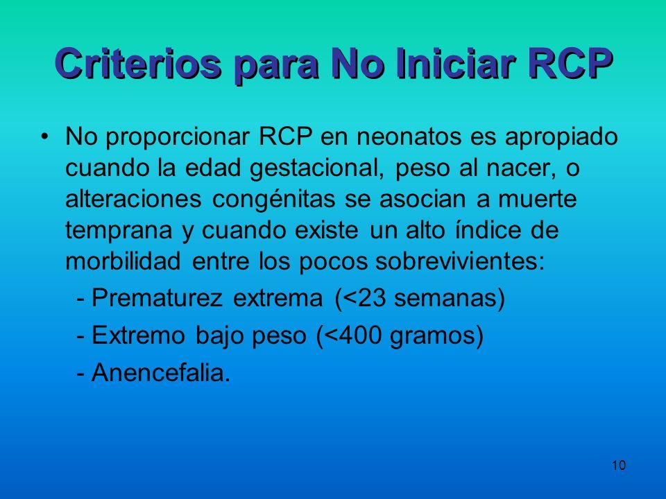 10 No proporcionar RCP en neonatos es apropiado cuando la edad gestacional, peso al nacer, o alteraciones congénitas se asocian a muerte temprana y cu