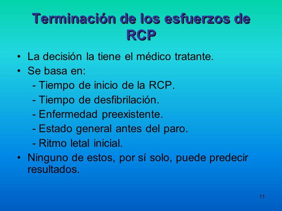 11 Terminación de los esfuerzos de RCP La decisión la tiene el médico tratante. Se basa en: - Tiempo de inicio de la RCP. - Tiempo de desfibrilación.