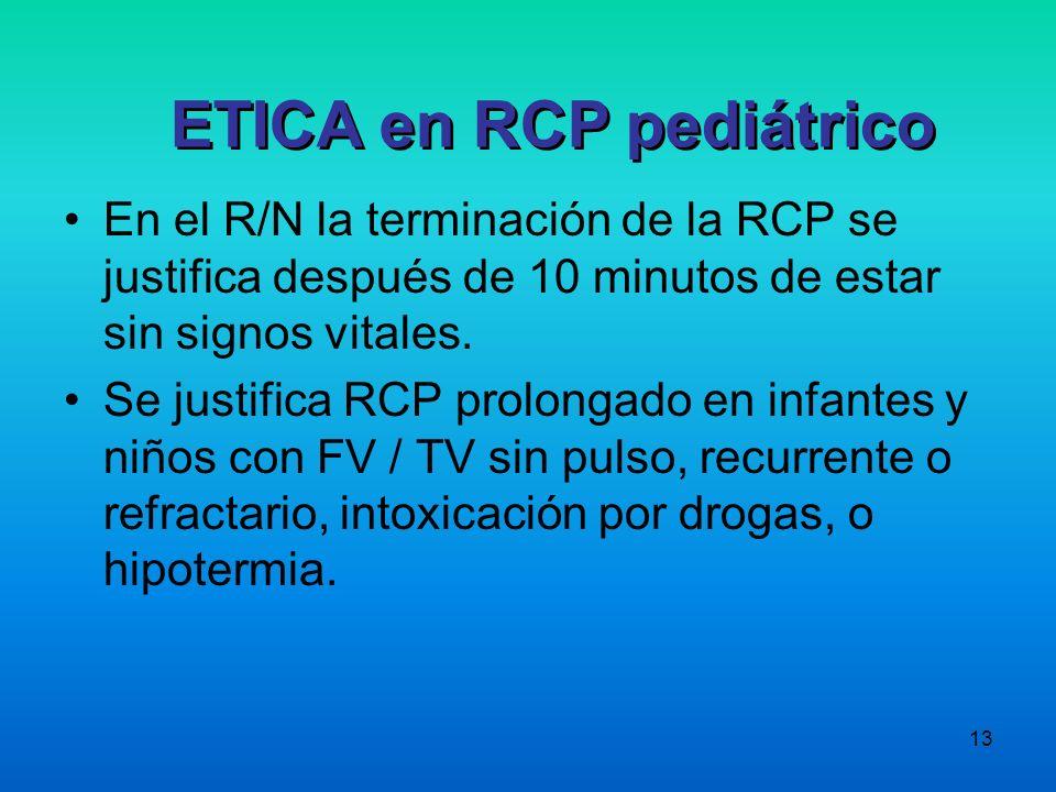 13 En el R/N la terminación de la RCP se justifica después de 10 minutos de estar sin signos vitales. Se justifica RCP prolongado en infantes y niños