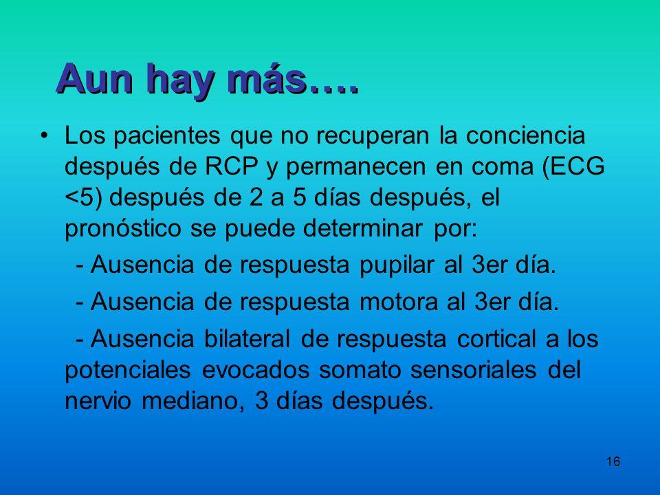 16 Los pacientes que no recuperan la conciencia después de RCP y permanecen en coma (ECG <5) después de 2 a 5 días después, el pronóstico se puede det