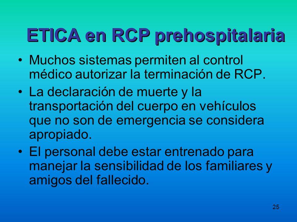 25 Muchos sistemas permiten al control médico autorizar la terminación de RCP. La declaración de muerte y la transportación del cuerpo en vehículos qu