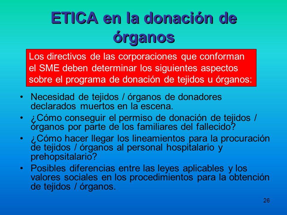 26 ETICA en la donación de órganos Necesidad de tejidos / órganos de donadores declarados muertos en la escena. ¿Cómo conseguir el permiso de donación