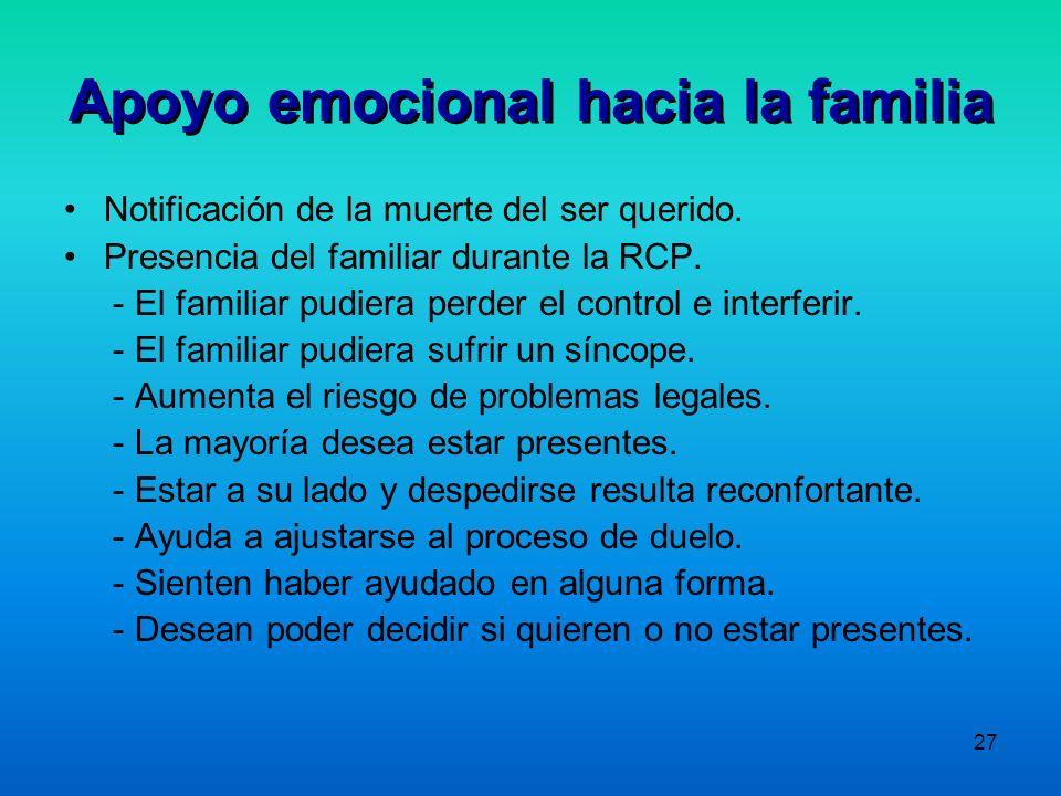 27 Apoyo emocional hacia la familia Notificación de la muerte del ser querido. Presencia del familiar durante la RCP. - El familiar pudiera perder el