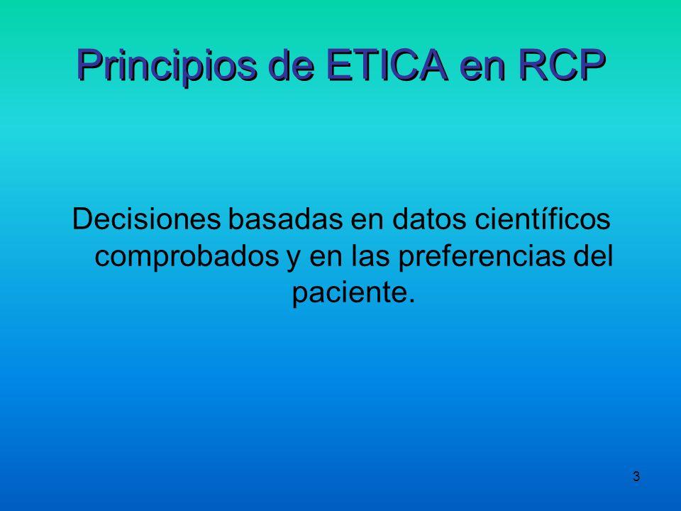 3 Principios de ETICA en RCP Decisiones basadas en datos científicos comprobados y en las preferencias del paciente.