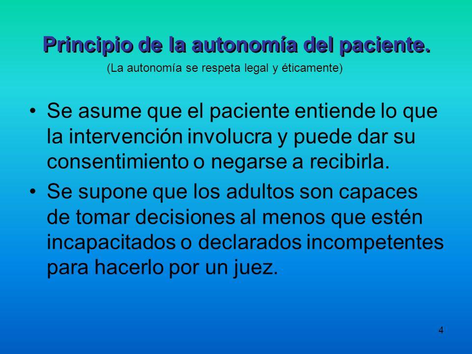 4 Principio de la autonomía del paciente. Se asume que el paciente entiende lo que la intervención involucra y puede dar su consentimiento o negarse a