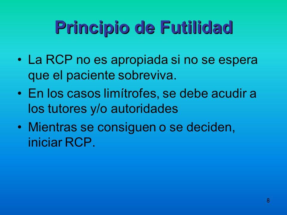 8 La RCP no es apropiada si no se espera que el paciente sobreviva. En los casos limítrofes, se debe acudir a los tutores y/o autoridades Mientras se