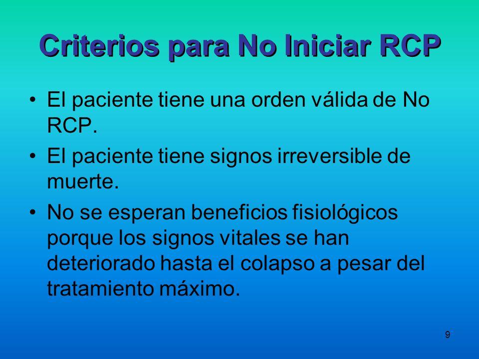9 Criterios para No Iniciar RCP El paciente tiene una orden válida de No RCP. El paciente tiene signos irreversible de muerte. No se esperan beneficio