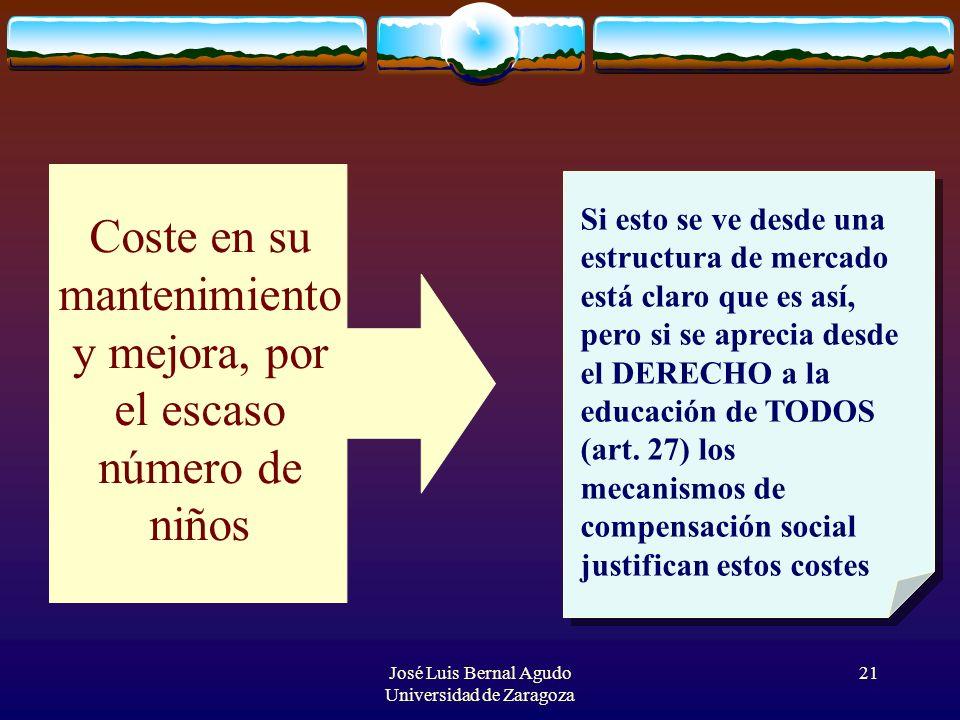José Luis Bernal Agudo Universidad de Zaragoza 21 Coste en su mantenimiento y mejora, por el escaso número de niños Si esto se ve desde una estructura
