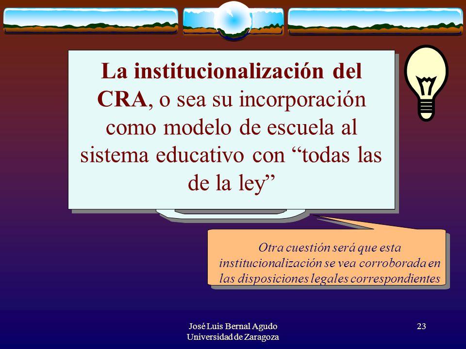 José Luis Bernal Agudo Universidad de Zaragoza 23 La institucionalización del CRA, o sea su incorporación como modelo de escuela al sistema educativo