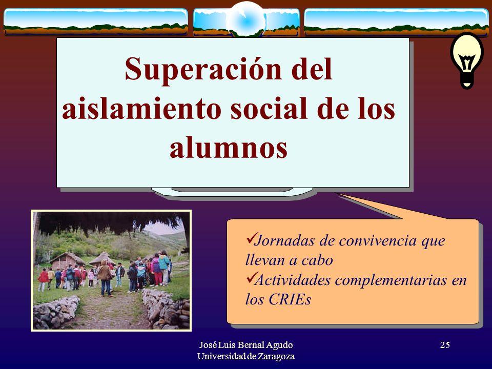 José Luis Bernal Agudo Universidad de Zaragoza 25 Superación del aislamiento social de los alumnos Jornadas de convivencia que llevan a cabo Actividad