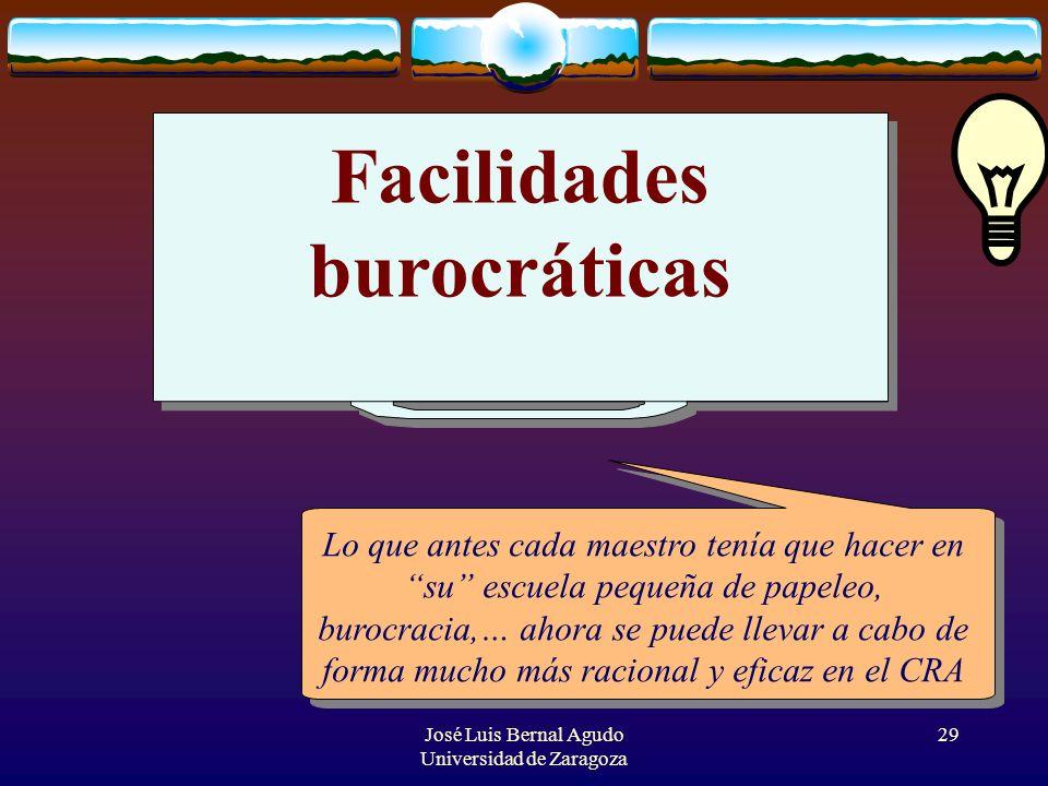 José Luis Bernal Agudo Universidad de Zaragoza 29 Facilidades burocráticas Lo que antes cada maestro tenía que hacer en su escuela pequeña de papeleo,