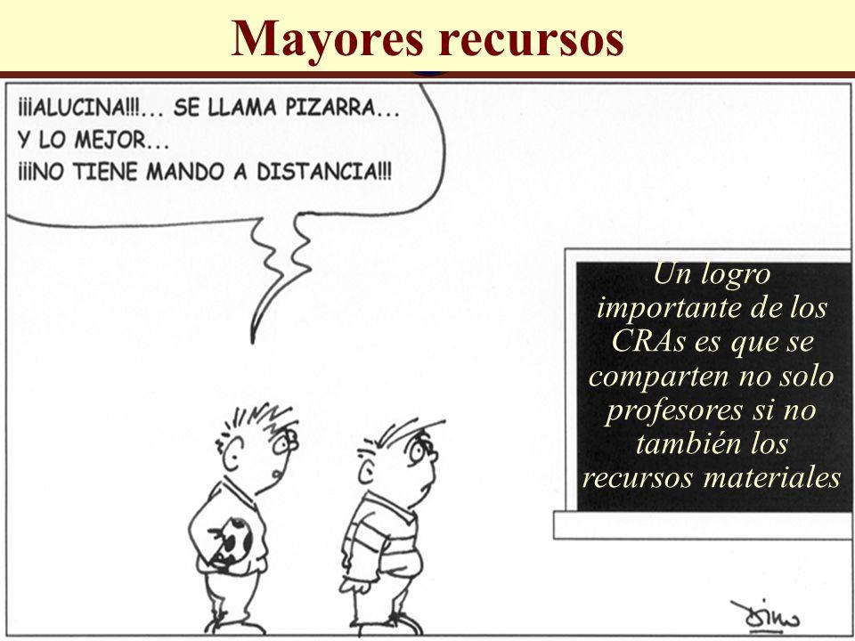 José Luis Bernal Agudo Universidad de Zaragoza 32 Mayores recursos Un logro importante de los CRAs es que se comparten no solo profesores si no tambié