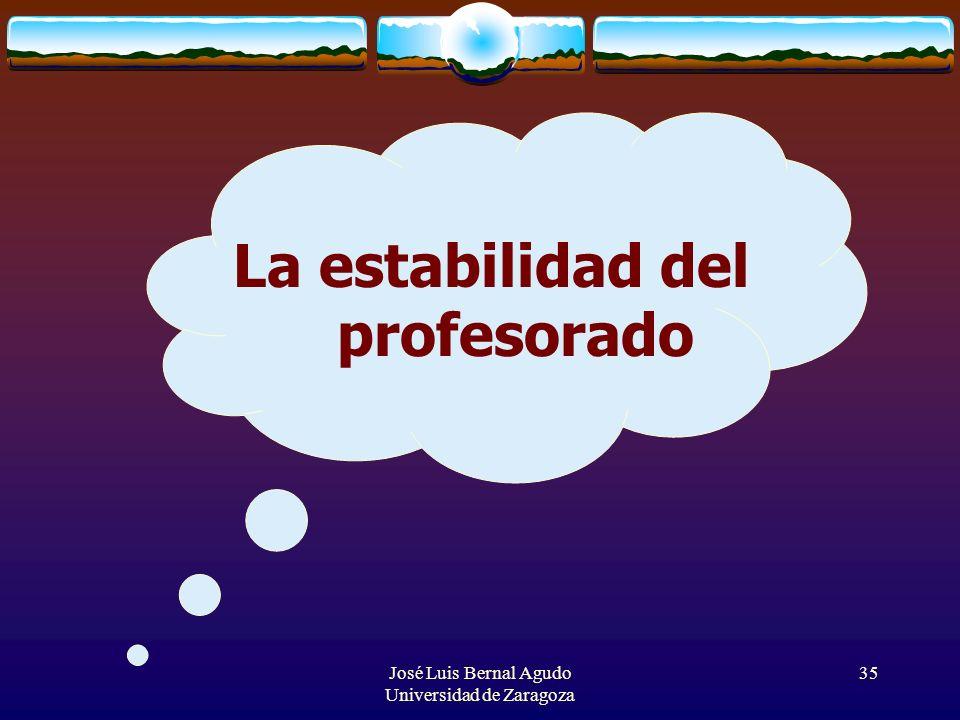 José Luis Bernal Agudo Universidad de Zaragoza 35 La estabilidad del profesorado