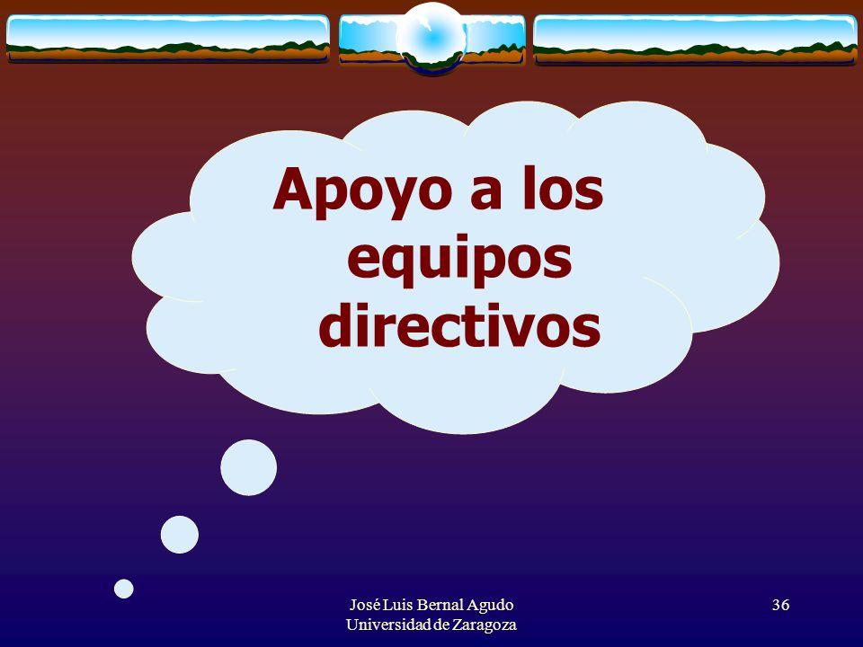José Luis Bernal Agudo Universidad de Zaragoza 36 Apoyo a los equipos directivos