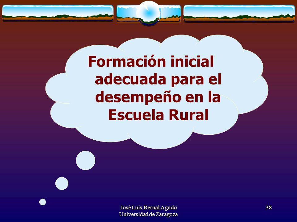 José Luis Bernal Agudo Universidad de Zaragoza 38 Formación inicial adecuada para el desempeño en la Escuela Rural
