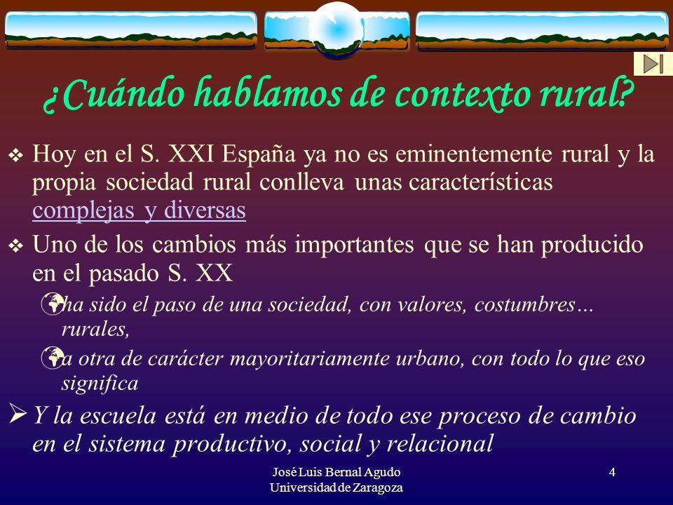 4 ¿Cuándo hablamos de contexto rural? Hoy en el S. XXI España ya no es eminentemente rural y la propia sociedad rural conlleva unas características co