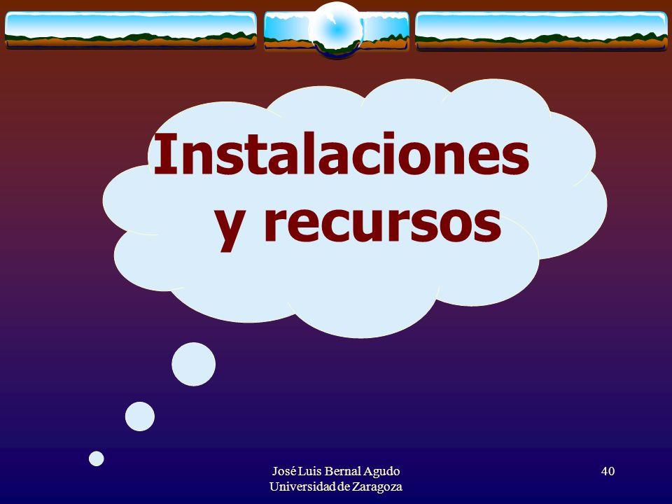 José Luis Bernal Agudo Universidad de Zaragoza 40 Instalaciones y recursos