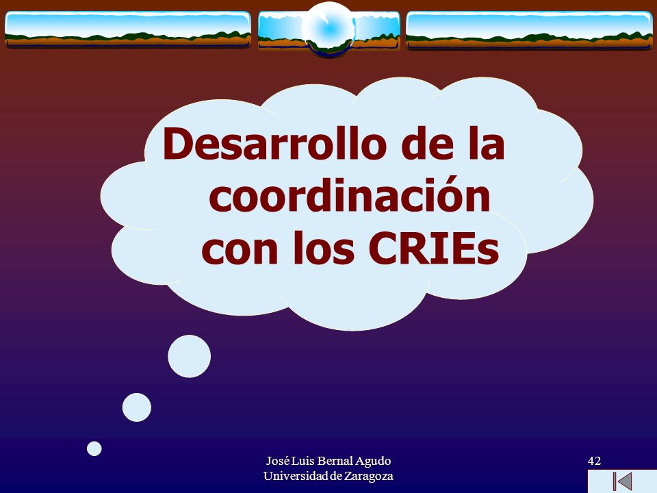 José Luis Bernal Agudo Universidad de Zaragoza 42 Desarrollo de la coordinación con los CRIEs