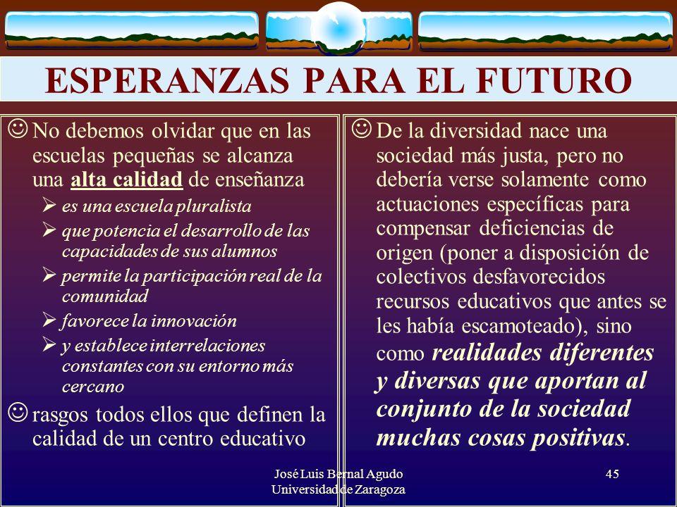 José Luis Bernal Agudo Universidad de Zaragoza 45 ESPERANZAS PARA EL FUTURO No debemos olvidar que en las escuelas pequeñas se alcanza una alta calida