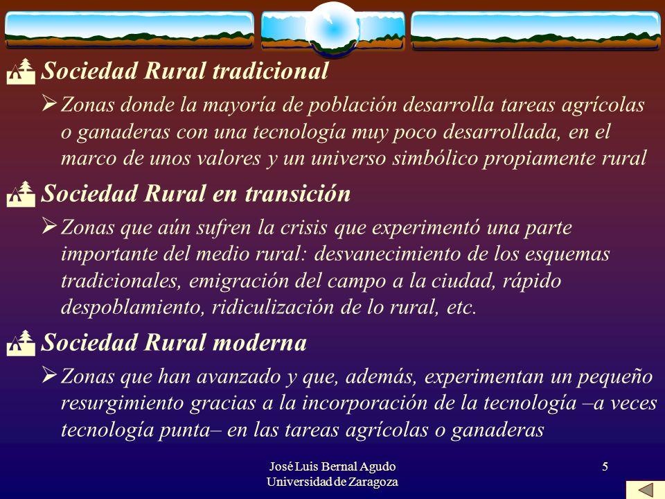 José Luis Bernal Agudo Universidad de Zaragoza 5 Sociedad Rural tradicional Zonas donde la mayoría de población desarrolla tareas agrícolas o ganadera