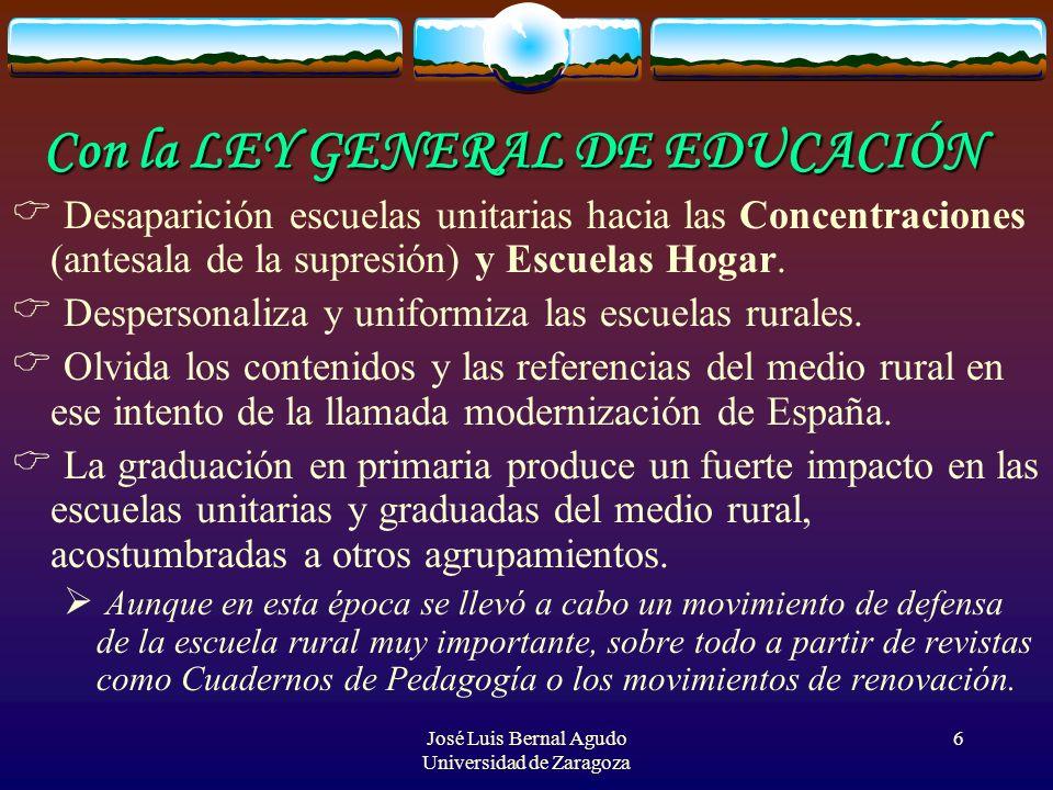 José Luis Bernal Agudo Universidad de Zaragoza 6 Con la LEY GENERAL DE EDUCACIÓN Desaparición escuelas unitarias hacia las Concentraciones (antesala d