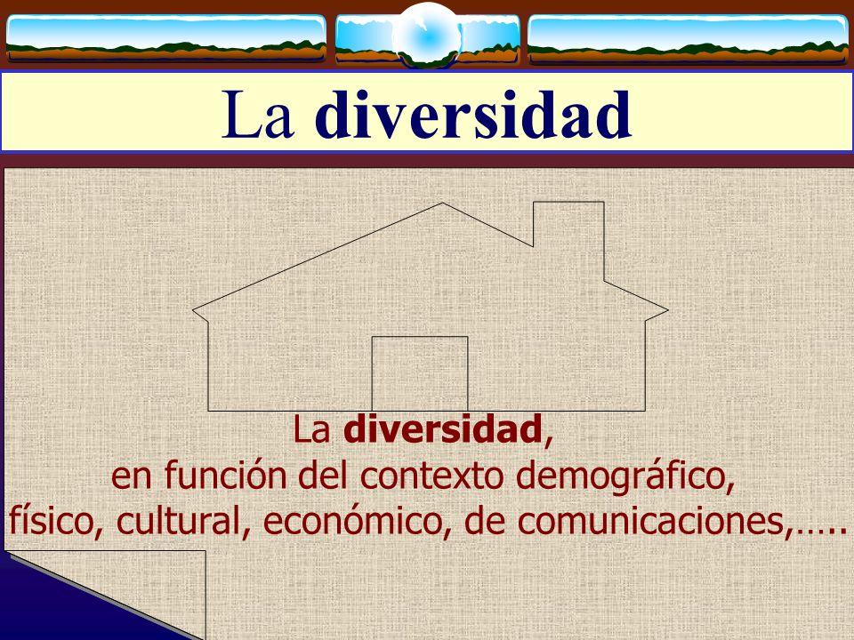 José Luis Bernal Agudo Universidad de Zaragoza 8 La diversidad La diversidad, en función del contexto demográfico, físico, cultural, económico, de com